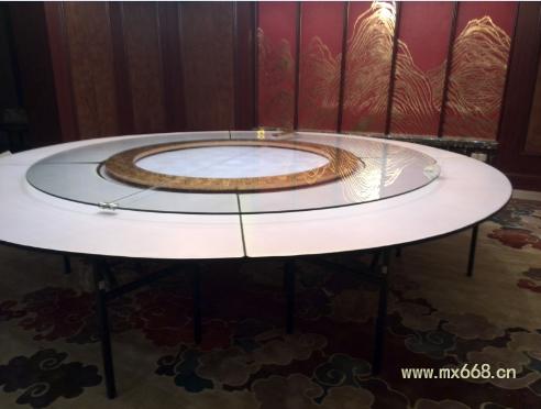 折叠宴会餐桌安装电动转盘流程效果图